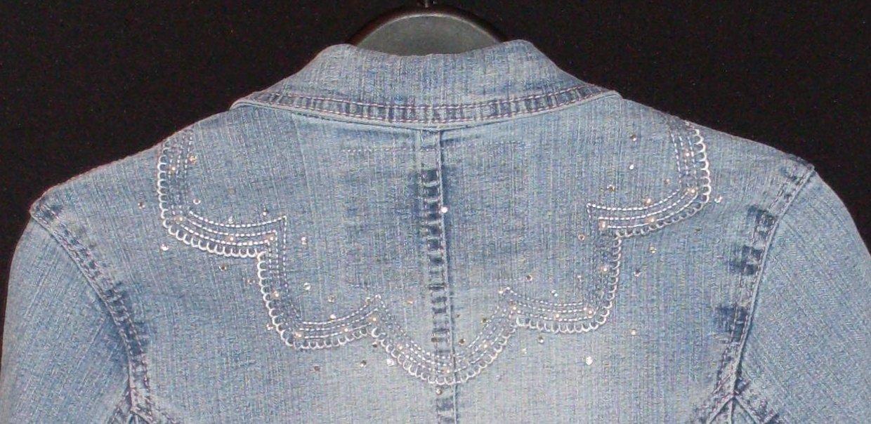Girls Jean Jacket  Fitted Stretch Embellished Lg 14 - 13/14