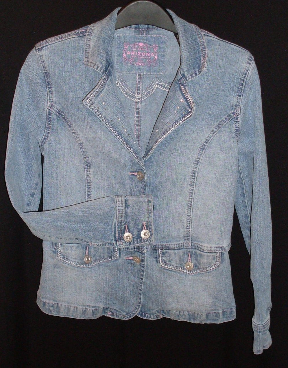 Girls Jean Jacket Fitted Stretch Embellished Lg 14