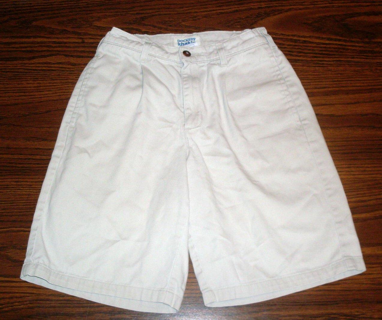 Girls Long Shorts Dockers Light Tan Khaki Size 14 Adjustable Waist