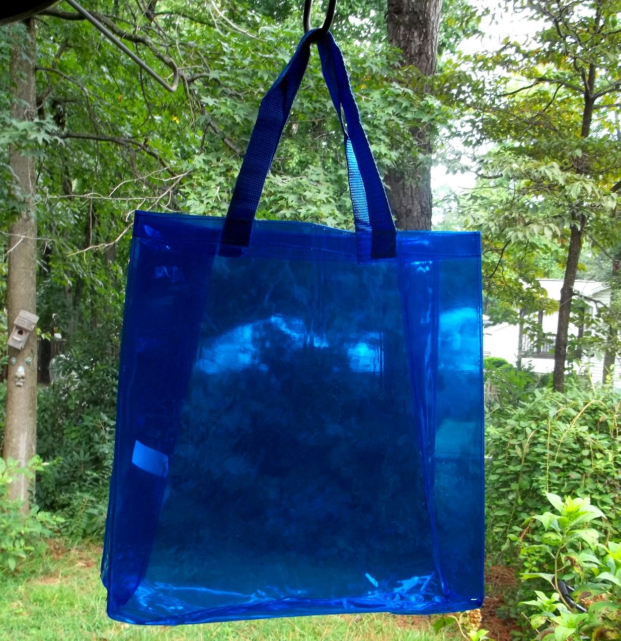 Tote Bag Vinyl Shopping Beach Travel Clear Sapphire Blue