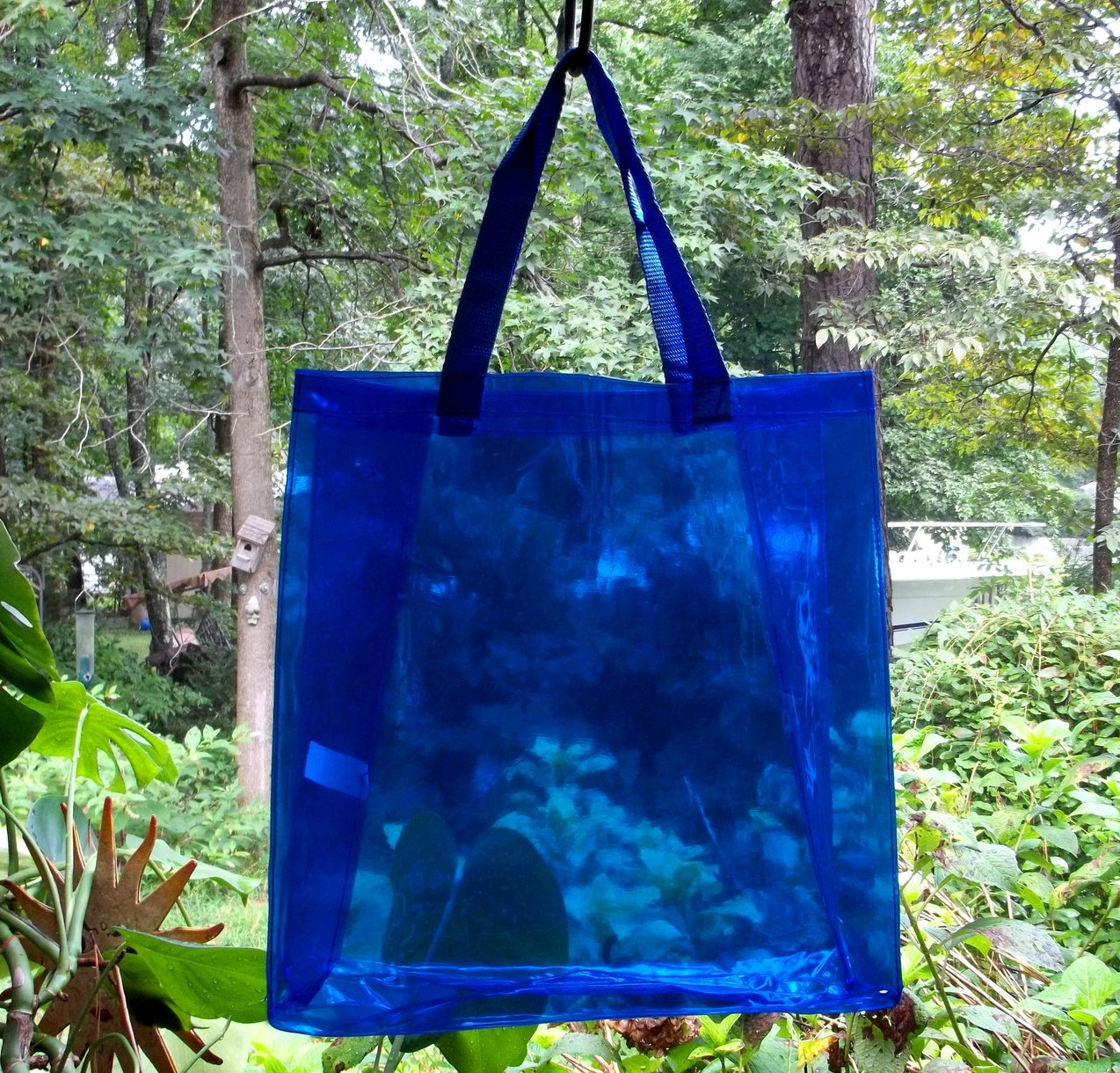 Image 1 of Tote Bag Vinyl Shopping Beach Travel Clear Sapphire Blue