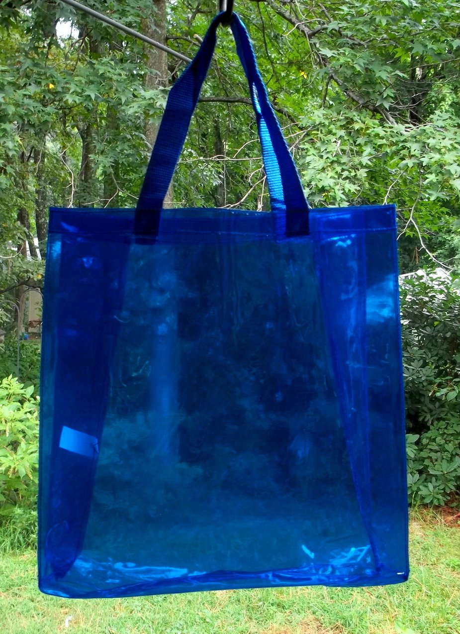Image 2 of Tote Bag Vinyl Shopping Beach Travel Clear Sapphire Blue