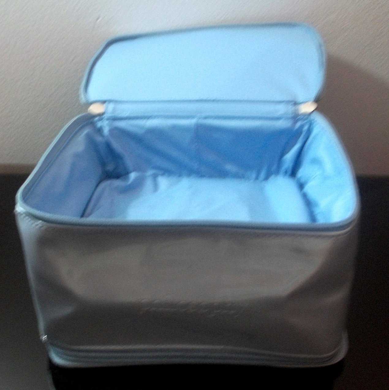 Image 2 of Philosophy Double Compartment Cosmetic Makeup Bag Silvery Blue