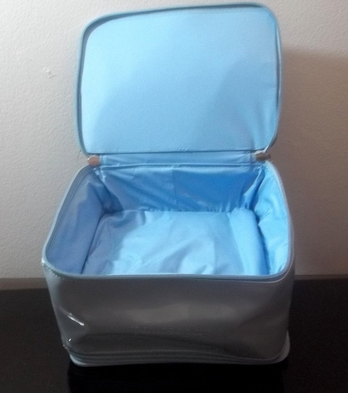 Image 3 of Philosophy Double Compartment Cosmetic Makeup Bag Silvery Blue