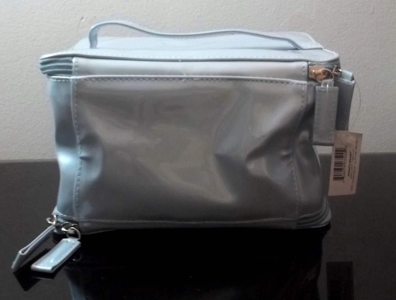 Image 4 of Philosophy Double Compartment Cosmetic Makeup Bag Silvery Blue