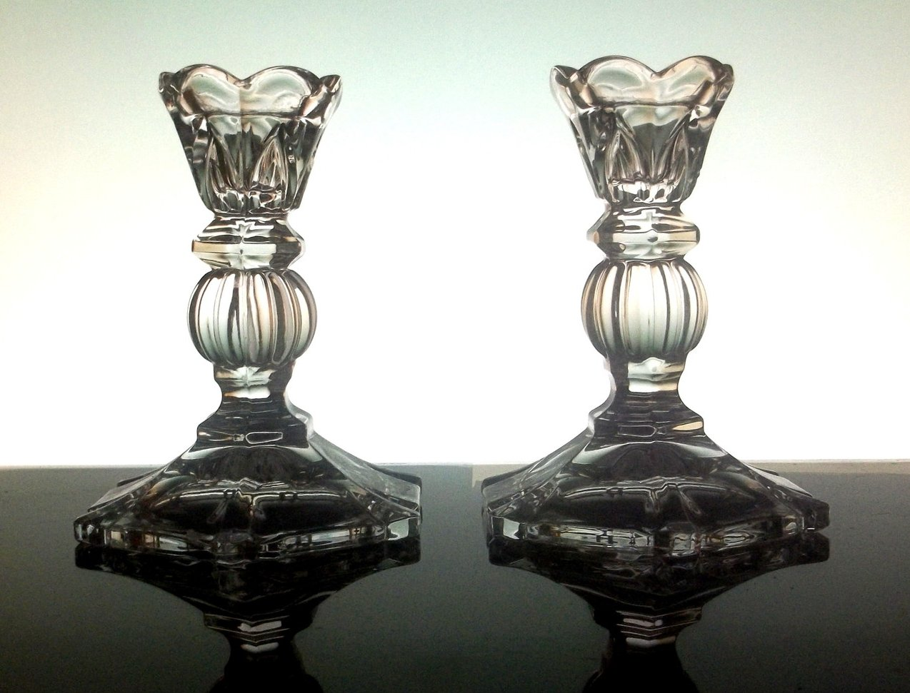 Image 0 of Crystal Candlesticks with Triangular Arches 5 inch Lot of 2