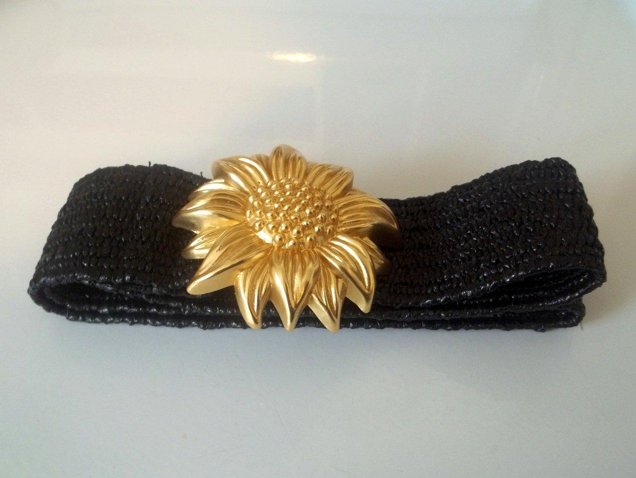 Vintage Ladies Fashion Belt Heavy Golden Sunflower Black 32 x 2