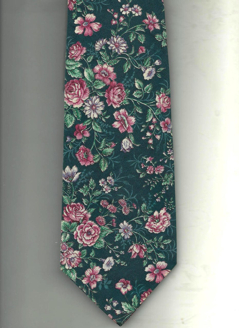 Image 1 of Necktie Tie Floral Cotton Green Pink White Van Heusen 417
