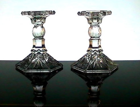 Crystal Candlesticks Heavy Diamonds and Fronds 5.25 inches Set of 2