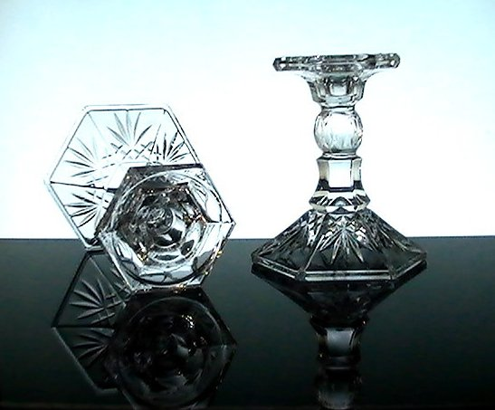 Image 1 of Crystal Candlesticks Heavy Diamonds and Fronds 5.25 inches Set of 2