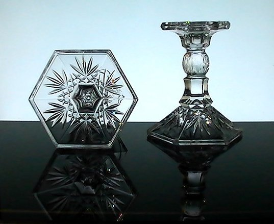 Image 2 of Crystal Candlesticks Heavy Diamonds and Fronds 5.25 inches Set of 2