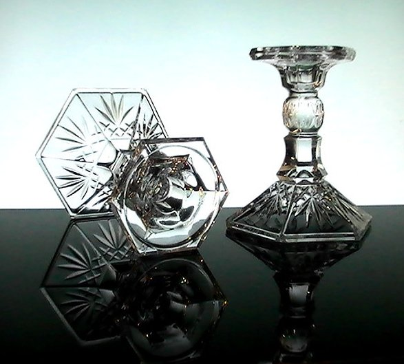 Image 3 of Crystal Candlesticks Heavy Diamonds and Fronds 5.25 inches Set of 2