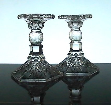 Image 4 of Crystal Candlesticks Heavy Diamonds and Fronds 5.25 inches Set of 2