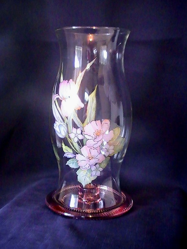 Hurricane Shade Pink Iris Bouquet With Taper Holder 12.25  X 6