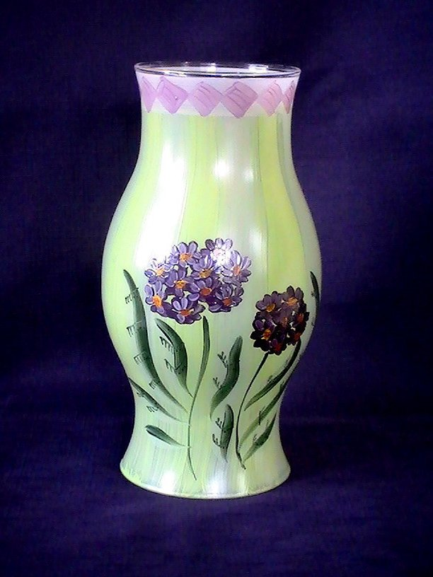 Hand Painted Hurricane Shade Hibiscus 8.5 X 3.25 x 4.5 Green Purple