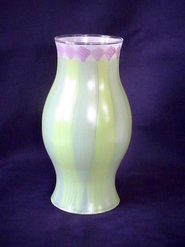 Image 2 of Hand Painted Hurricane Shade Hibiscus 8.5 X 3.25 x 4.5 Green Purple