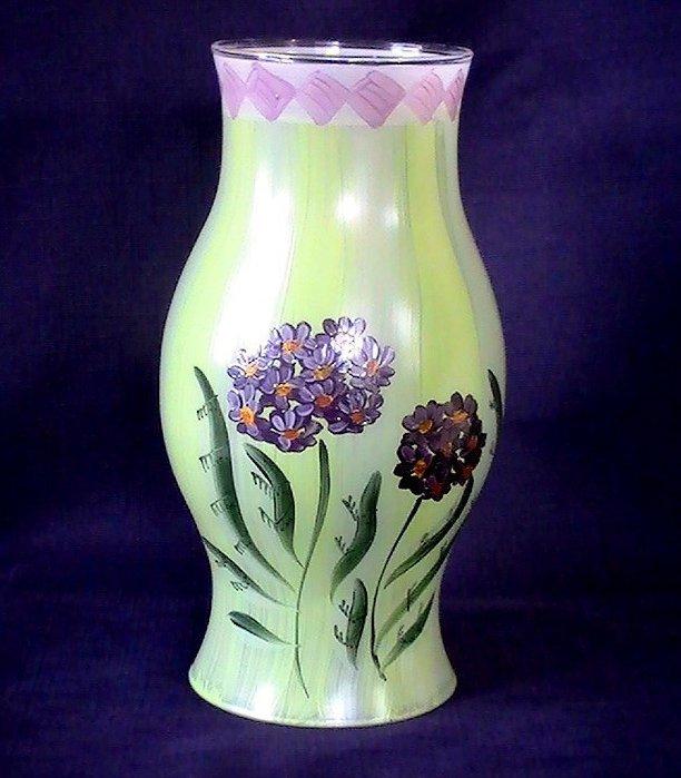 Image 4 of Hand Painted Hurricane Shade Hibiscus 8.5 X 3.25 x 4.5 Green Purple