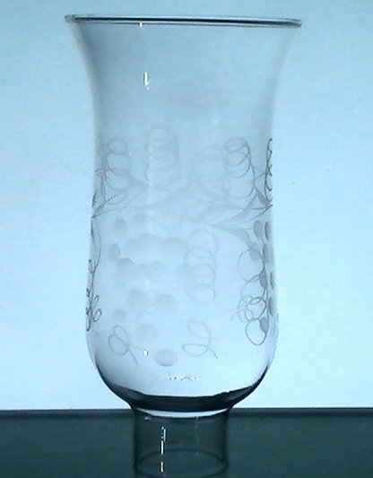 Hurricane Shade 1 5/8 inch fitter x 6.5 x 3.75 Etched Grapes and Vines