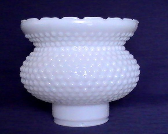 Milk Glass Hurricane Lamp Shade Hobnail 2 7/8 inch fitter x 6 x 6.25
