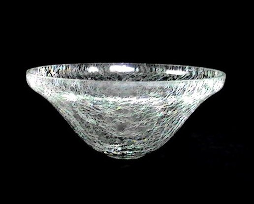 Hanging Candle Potpourri Holder Bowl Crackle Glass 7 5/8  x 4