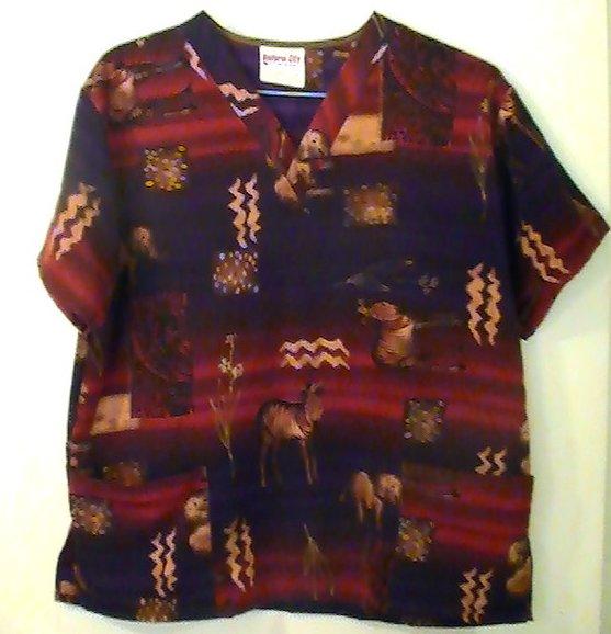 Image 0 of Scrub Top Uniform City Tribal Sahara Print Size M Womens