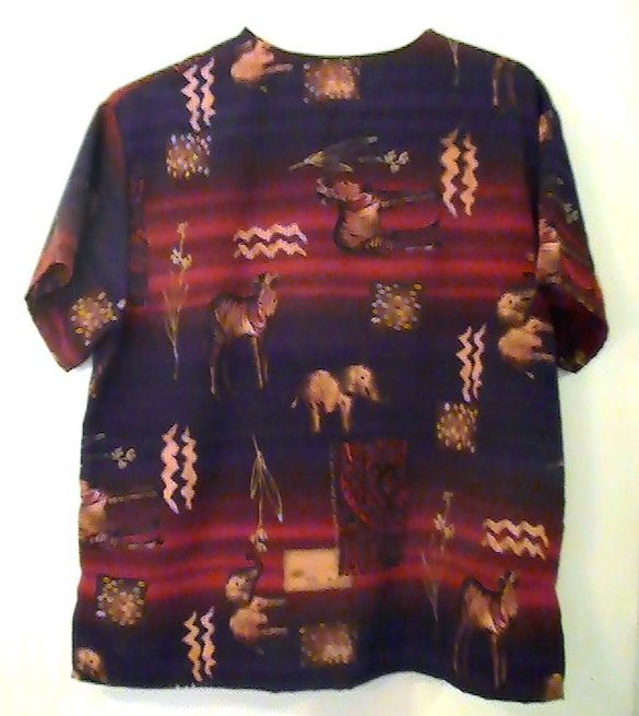Image 2 of Scrub Top Uniform City Tribal Sahara Print Size M Womens