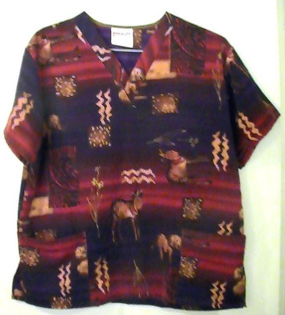 Image 3 of Scrub Top Uniform City Tribal Sahara Print Size M Womens