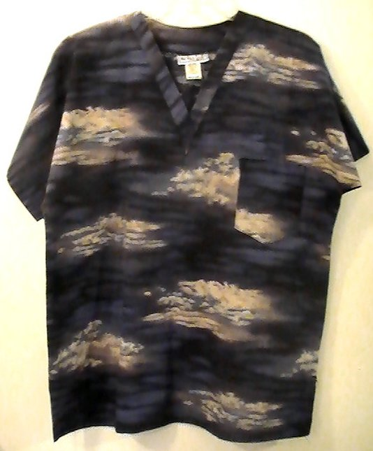 Scrub Top Mad About Scrubs Cloudy Skies Size M Womens