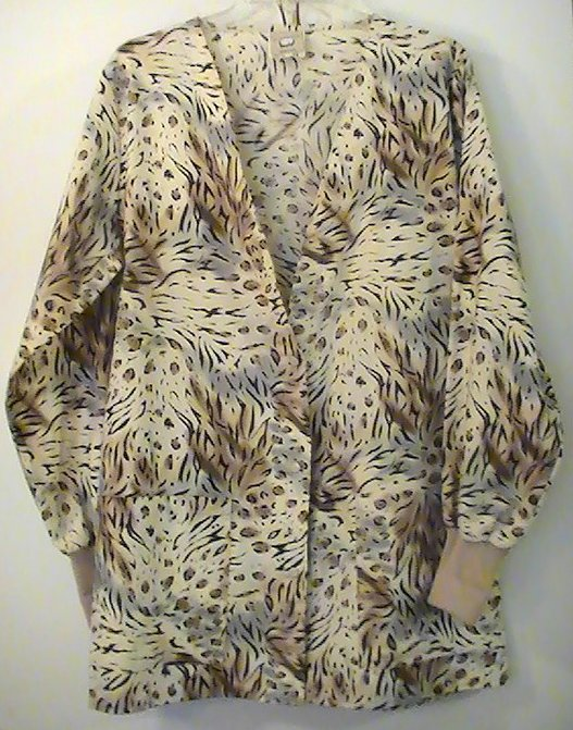 Scrub Top Cardigan Jacket Cottonality Safari Print Size Small Womens