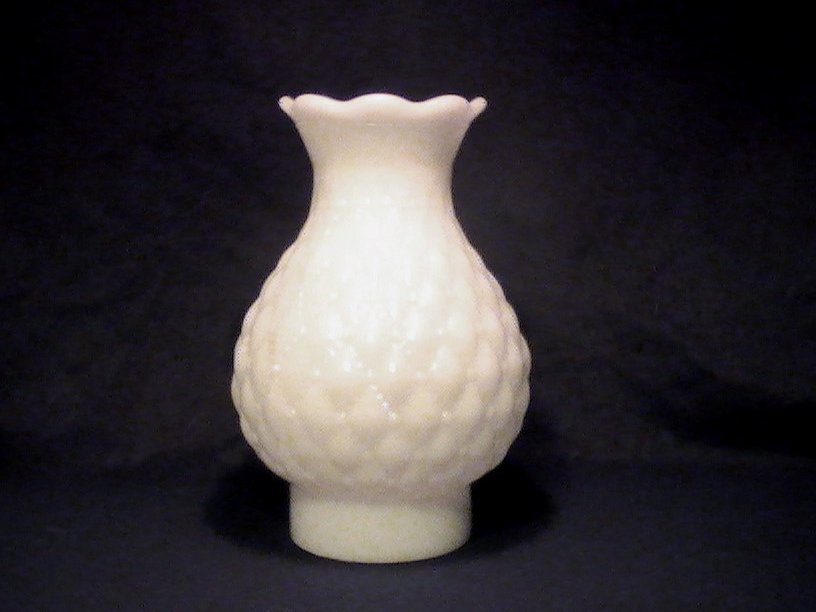 Vintage Milk Glass Lamp Shade Quilted White 7 x 3.25 x 3 inch fitter