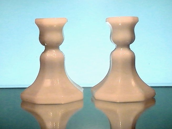 Image 0 of Vintage Candlesticks White Milk Glass Octagonal Base Set of 2