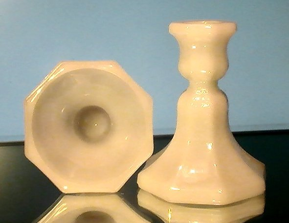 Image 2 of Vintage Candlesticks White Milk Glass Octagonal Base Set of 2