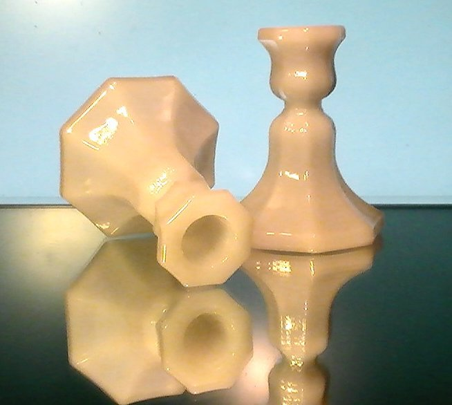 Image 3 of Vintage Candlesticks White Milk Glass Octagonal Base Set of 2