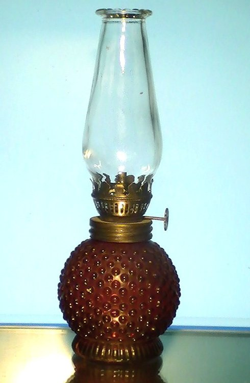 Miniature Oil Lamp Red Hobnail  Base 8.25 x 3 Vintage