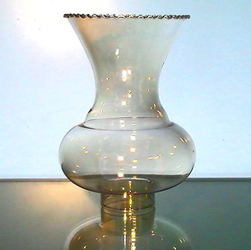 Hurricane Lamp Shade Iridescent Amber 1 5/8 in fitter x 6.25 Rippled Crimp