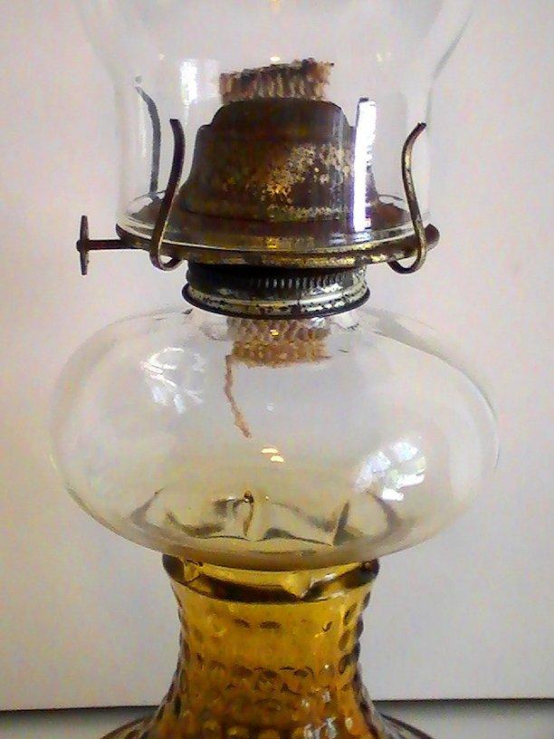 Vintage Oil Lamp Amber Hobnail Glass P Amp G Eagle Burner 16