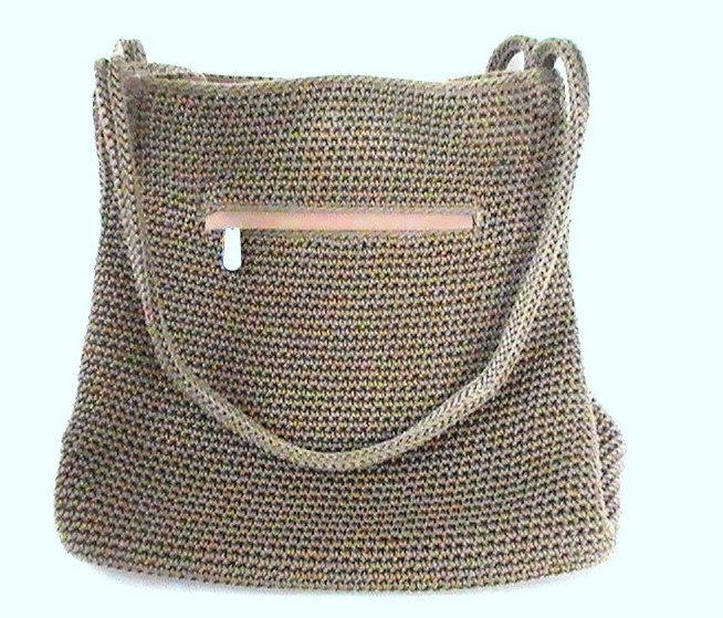 THE SAK Handbag Crochet Knit Brown Purse Shoulder Bag Double Strap