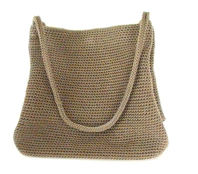 Image 1 of THE SAK Handbag Crochet Knit Brown Purse Shoulder Bag Double Strap