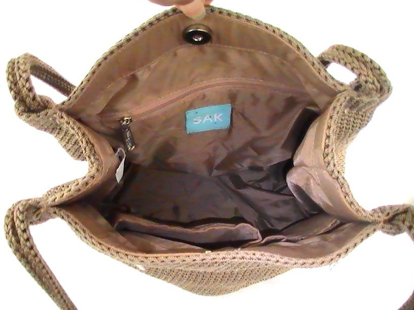 Image 2 of THE SAK Handbag Crochet Knit Brown Purse Shoulder Bag Double Strap