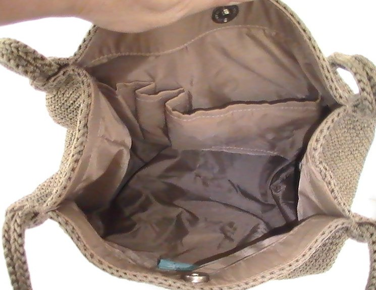 Image 3 of THE SAK Handbag Crochet Knit Brown Purse Shoulder Bag Double Strap