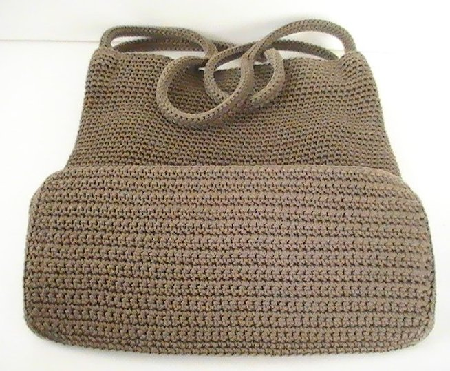 Image 4 of THE SAK Handbag Crochet Knit Brown Purse Shoulder Bag Double Strap