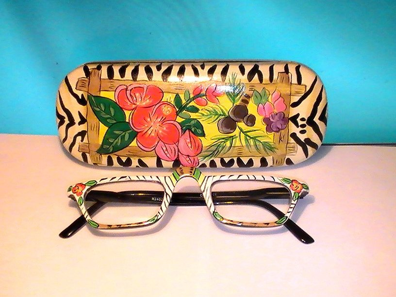 Eyeglasses Zebra Readers with Matching Case R2401 +2.00 Strength