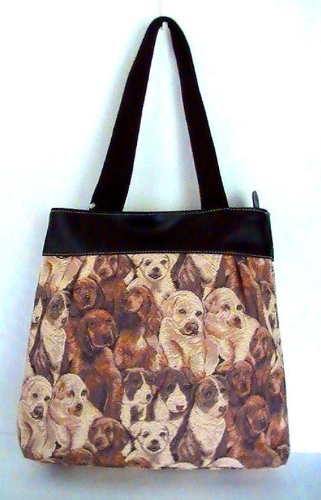 '.Dogs Tapestry Handbag Tote.'