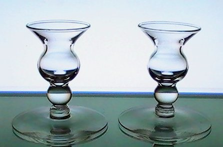 Image 0 of Candle Sticks Vintage Bulbous Dainty Clear Glass