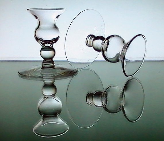 Image 1 of Candle Sticks Vintage Bulbous Dainty Clear Glass