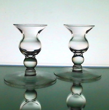 Image 2 of Candle Sticks Vintage Bulbous Dainty Clear Glass