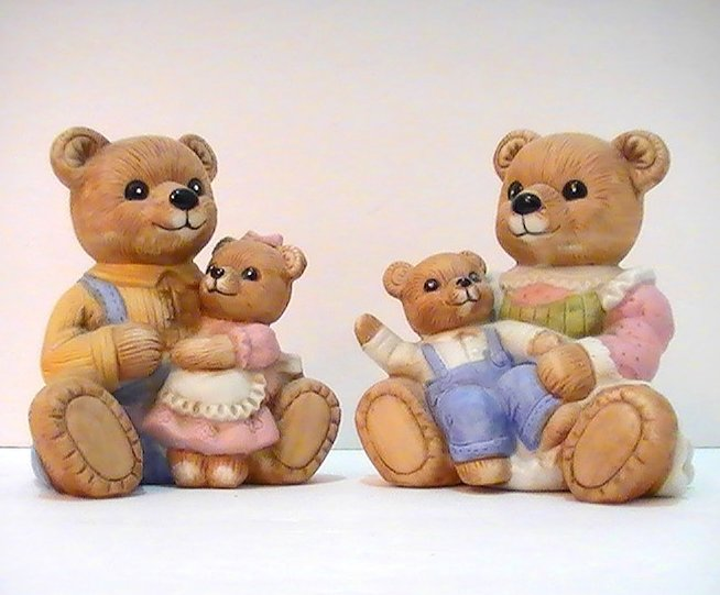 Homco Teddy Bear Family 1444 2 Piece Set Mom Dad Boy Girl
