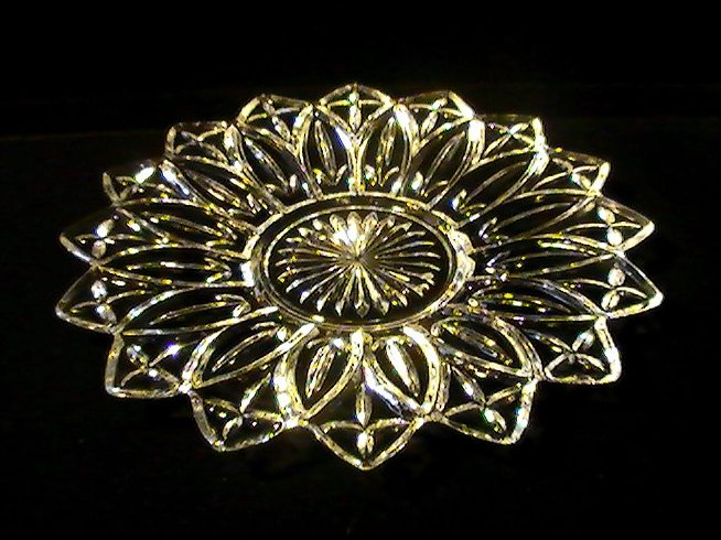 Federal Glass Petal Clear Sandwich Platter Iridescent 11 5