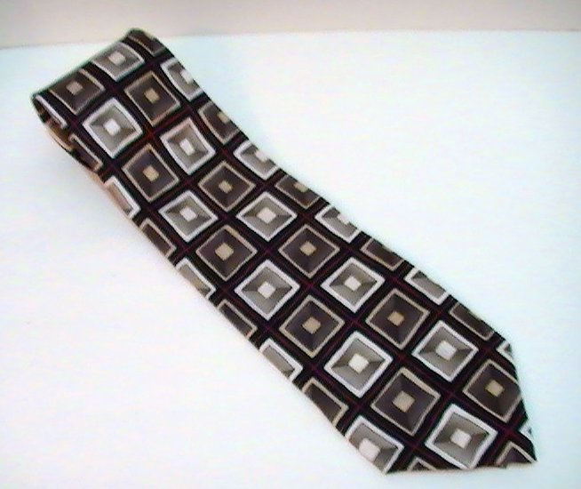 Image 1 of Necktie Tie Facets Geometric Blocks Print Silk