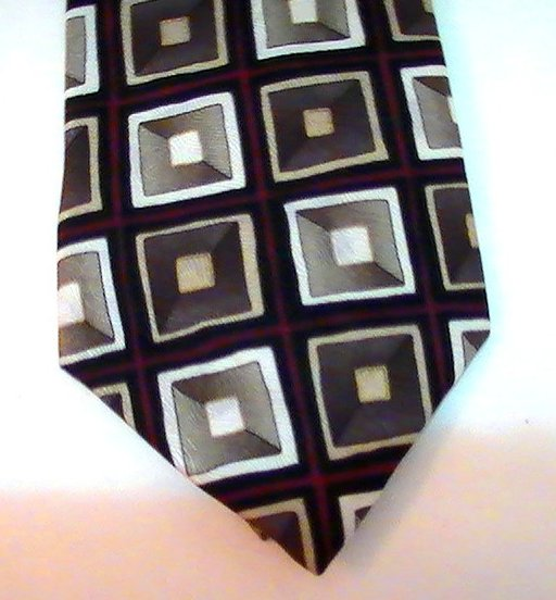 Image 2 of Necktie Tie Facets Geometric Blocks Print Silk